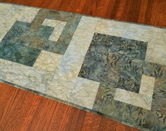 Quilted Modern Batik Table Runner in Shades of Blue Gray Brown, Dining Table Decor, Dresser Runner, Quilt Table Runner, Quilted Tablecloth