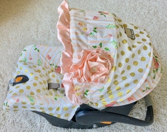 Custom Car Seat Covers, 4 Pc Set for Car Seat, Blush Watercolor Floral Stripe Car Seat Cover, Baby Car Seat Covers, Gold Dot Car Seat Covers