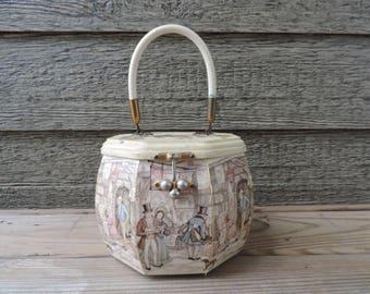 Anton Pieck box purse vintage The Book Shop marketplace decoupage wooden handbag octagon box purse