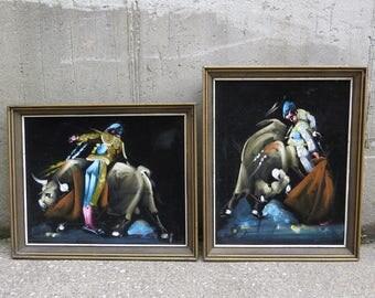 Pair Bull Fight Matador Paintings on Black Velvet Vintage 1970s Kitschy Made in Mexico Framed Artwork