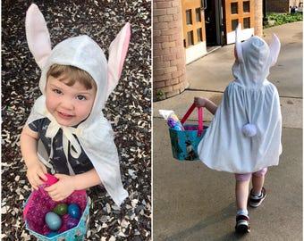 Handmade Cape White Crushed Velvet Bunny Rabbit Children Kids Toddler