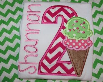 Ice Cream cone birthday tshirt, or ruffle dress- any number- Sweet treats birthday-  Ice Cream bar