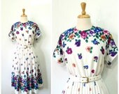 ON HOLD Vintage 80s Dress Pansy Floral Border Print Full Pleated Skirt Party Summer dress Size 12