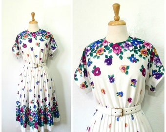 Vintage 80s Dress Pansy Floral Border Print Full Pleated Skirt Party Summer dress Size 12