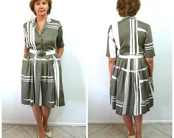 Vintage 80's dress Cotton Olive & White Petites by Willi 50's design Geometric Shirtwaist dress S/M