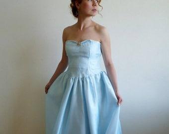 1950s Dress Postel Blue Chiffon Lilli Diamond Sweetheart Strapless dress Prom Wedding Gown XS/S