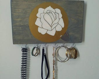 Hand-painted White Rose  keys/jewelry hooks