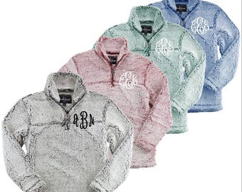 Monogrammed Sherpa Pullover, personalized, pullover, jacket, fleece, quarter zip, jacket, preppy