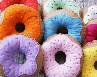 Choose Your Colour Felt Doughnut Pin Cushion, Plush Donuts, Donut Pin Cushion, Doughnut Decor, Donut Decor, Pretend Food, Sewing accessory
