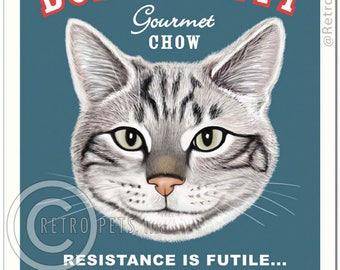 11x14 Cat Art - Bossy Kitty FEED ME NOW -  Art print by Krista Brooks
