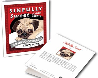 """Pug Art """"Sinfully Sweet"""" 6 Small Greeting Cards by Krista Brooks"""