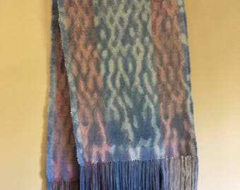 Red White and Blue Weaving with Fringe / Hand woven wall hanging or table runner