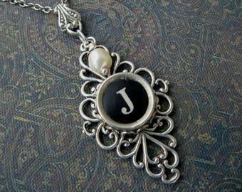 Typewriter Key Jewelry - Typewriter Necklace Letter J