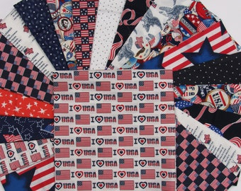 Patriotic Quilt Kit-Fast-Easy-Fun-Red,White and BLue Patriotic Designs and Colors-Perfect for any Patriotic Guy or Gal!
