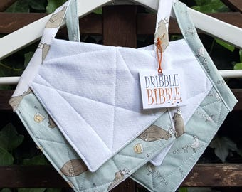 Handmade Cotton Quilted Absorbent Baby Bib Set of Two
