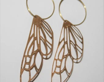 Dragonfly Wing Earrings,Butterfly earrings,Butterfly Wing Earrings,Skeleton wings,Brass hoops,Girlfriend gift,Modern Jewelry,Nature inspired