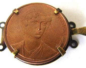 GREECE COIN CLASP Vintage Very Unique Real Greece 2 Drachmes Copper coin Jewelry Clasp for necklaces or bracelets