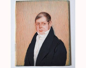 c. 1800 miniature painting PORTRAIT of a gentleman