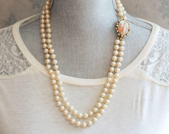 Vintage Double Strand Faux Ivory Glass Pearl Necklace with Porcelain Brooch Clasp