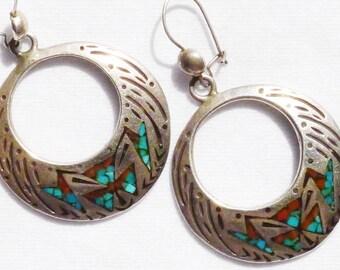 Navajo Sterling Silver Hummingbird Turquoise Coral Mosaic Hoop Dangle Earrings