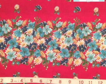 LAST 29 INCHES, Vintage Border Floral Red Fabric