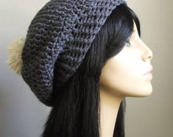 Pretty Crochet Slouchy Hat Beret Tam GREY GRAY WHITE Pom Pom Handmade Ready to Ship