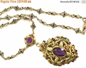 CIJ SALE Christmas JULY Stunning Austro Hungarian Gold Gilt Silver Purple Amethyst Seed Pearl Enamel Vintage Antique Necklace