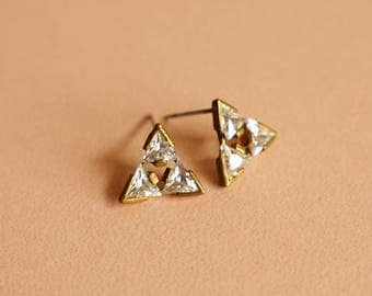 Triangle Diamond Copper Earring ,Elegant Style, Jewelry,Geometric Jewelry,Gifts For Her, Handmade Jewelry,Stud Earrings