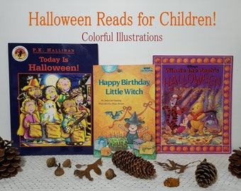 3 Halloween Books for Kids Children. Spooky fun! Today Is Halloween, Happy Birthday Little Witch, Winnie the Pooh's Halloween. Marc Brown