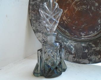 Vintage Smoke Gray Pressed Glass Perfume Bottle   Clear Cut Crystal Stopper
