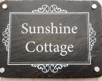 Personalised slate house sign 30x20cms