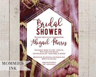 Agate Bridal Shower Invitation, Garnet and Gold Invitation, Geode Invitation, Modern Invitation, Shower Invite, Abstract Invite
