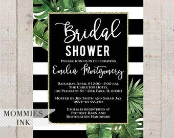 Bridal Shower Invitation, Tropical Invitation, Banana Leaf Invitation, Palm Leaf Invitation, Tropical Leaves Invite, Black and White Invite