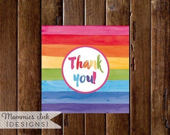 20% OFF SALE Rainbow Watercolor Favor Tag, Thank You Tag, Thank You Favor Tags, Art Party Favor Tag, Painting Party Favor Tag, PRINTABLE Des