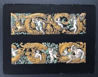 c. 1866 DECORATIVE ARCHITECTURE DETAIL antique lithograph - rare & unusual hand colored original antique print - green gold on black