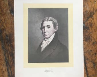 C. 1904 JAMES MONROE PORTRAIT original antique historic portraiture lithograph - great American - fifth president of the united states