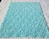 "Fluffy and Thick Turquoise Blue Hofmann Daisy Vintage Chenille Bedspread Fabric 18"" x 24"""