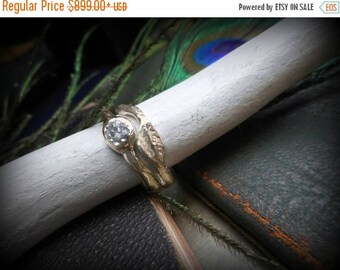 14K cast Gold Rough Diamond Engagement Ring Weeping WILLOW Raw Uncut, 14 K Wedding Band Ring Set, Rustic Tree Branch Handmade. Woodland