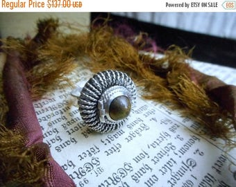 Antique Victorian Hidden Locket Funeral ring Sterling Silver & Tiger's Eye Ornate elixir ring Hidden compartment ring Pillbox Vintage ring