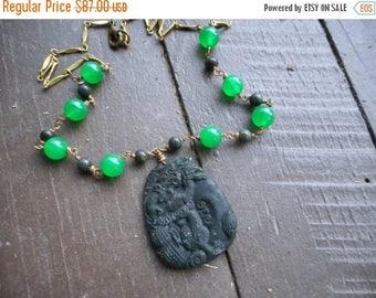 SALE The Dragonheart Necklace.  Black Jade Carved Dragon Pendant, Green Jade & Dark Green Serpentine Beaded Boho Necklace