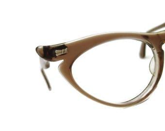 Vintage 60s Winged Cateye Eyeglasses Eyewear Frame Marine