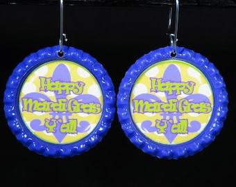 Happy Mardi Gras Y'all Bottle Cap Earrings-Mardi Gras-Mardi Gras Earrings-Holiday Earrings-ScrubHeads-Mask Earrings-Mardi Gras Y'all
