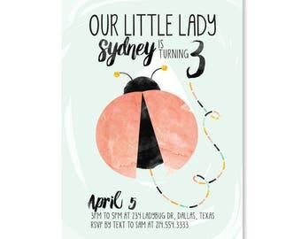Ladybug Party Invitation, Watercolor invitation, Pretty Invitation