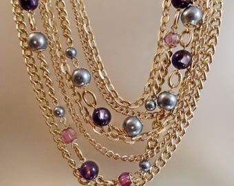 SALE Vintage Seven Strand Gray Pearl Purple Bead Necklace. Japan. Gold Tone Chains Gray Pearls and Purple Beads Necklace.