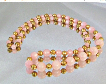 SALE Vintage Disco Necklace Honeysuckle Pink Moonglow and Gold Disco Ball Beads