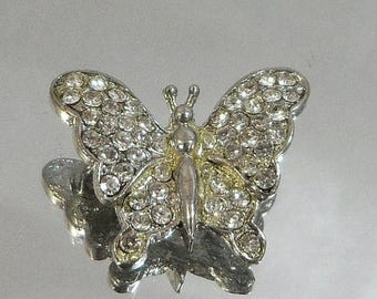 SALE Vintage Butterfly Brooch.  Clear Rhinestones Butterfly Pin.