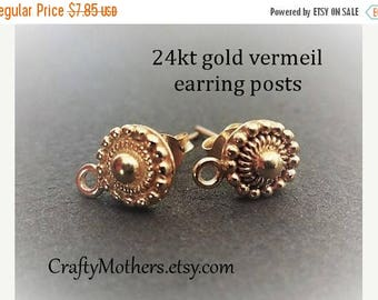 8% off SHOP-WIDE, Bali 24kt Gold Vermeil Granulated Earring Posts, 8mm x 11.5mm, 1 pair (2 pcs), Artisan-made supply