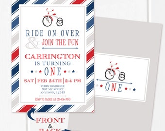 Blue & Red Tricycle Invitation, 5 x 7,  First Birthday, Vintage Tricycle, Birthday, Customized w/ Your Wording, We Edit- You Print!
