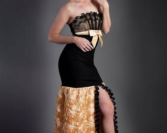 Clearance Size small Black and Gold Rose satin and lace mermaid style tulle prom dress ready to ship OOAK