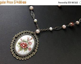 SUMMER SALE Rose Cameo Necklace. Victorian Rose Necklace. Beaded Necklace. Victorian Necklace. Pearl Necklace. Bronze Necklace. Handmade Nec